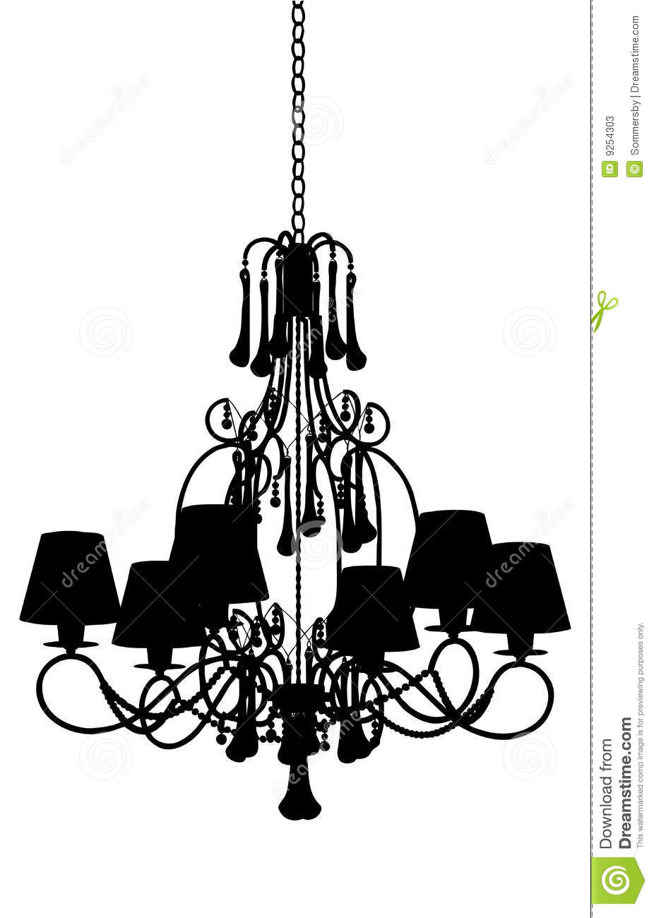 Silhouette Of Luxury Chandelier Stock Photos.