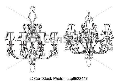 Vectors Illustration of Luster Chandelier Vector csp6523447.