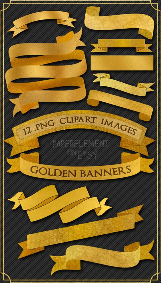 Digital Ribbon Banner Clipart: Gold Ribbon Banner Clip Art, Gold.