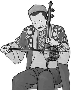 Monochrome clipart. Yu : Chinese percussion instrument.
