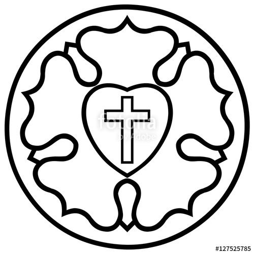 Vector: Lutheran Rose Emblem (Luther Seal), Black and White.