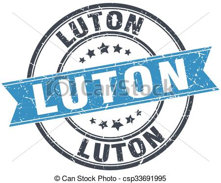 EPS Vectors of Luton blue round grunge vintage ribbon stamp.