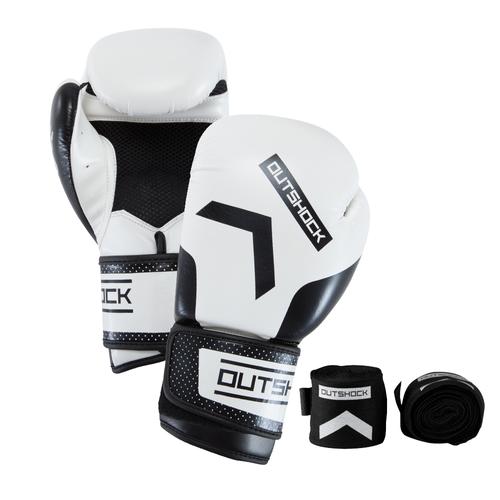 Kit Branco com Luva e Bandagem para Boxe e Muay Thai.