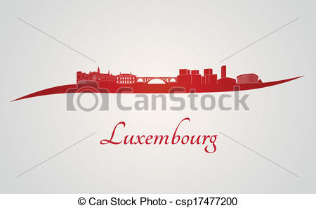 Vector Clipart of Luxembourg skyline in red and gray background in.