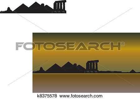 Clip Art of Luxor skyline k8375578.