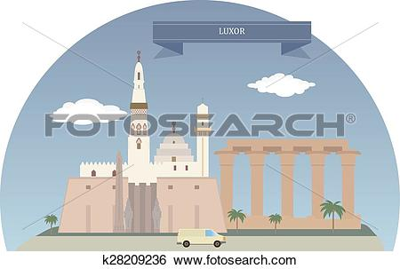 Clip Art of Luxor, Egypt k28209236.