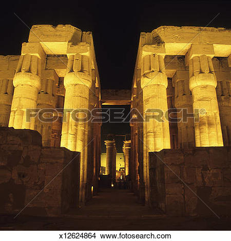 Stock Photo of Temple of Luxor illuminated at night, Luxor, Egypt.