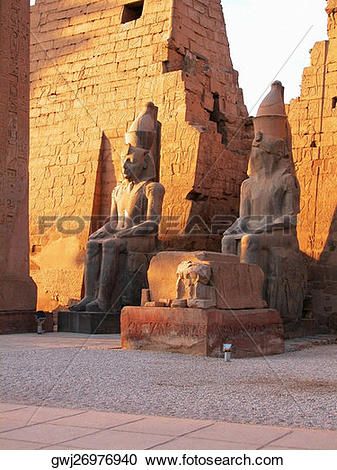 Stock Photography of Two statues in a temple, Temple Of Luxor.