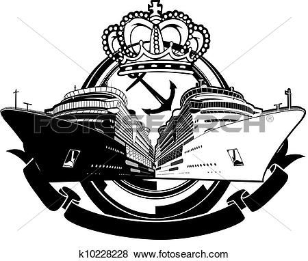 Clip Art of Luxury Party Vacation Cruise Boat Sign k10228228.