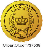 Clipart Illustration of a Golden Shiny Luxury Quality Wax Seal by.