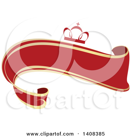 Clipart of a Red and Gold Luxurious Retail Ribbon Banner Design.