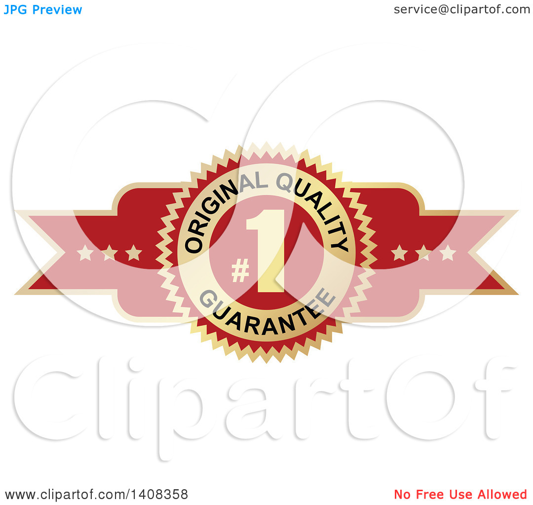 Clipart of a Red and Gold Luxurious Retail Quality Guarantee.