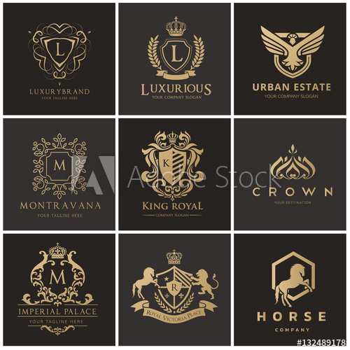Luxury Hotel logo collection elegant brand identity design.