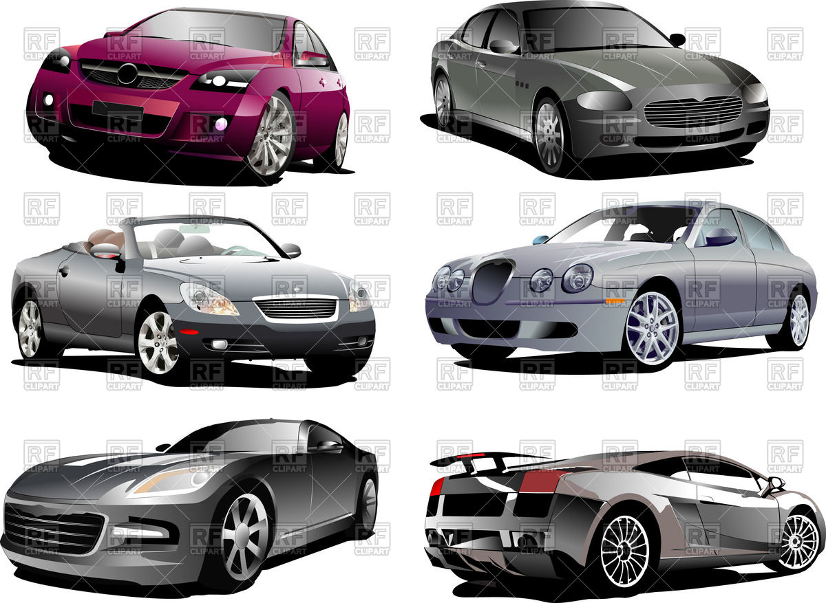 Luxury cars: sedan, coupe, cabriolet and sport car Vector Image.