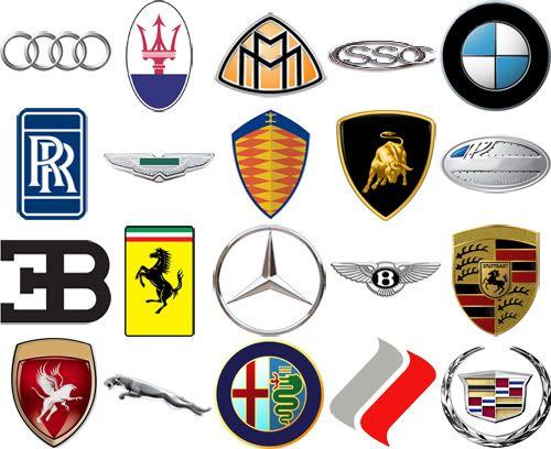 High end car brands by their logos.