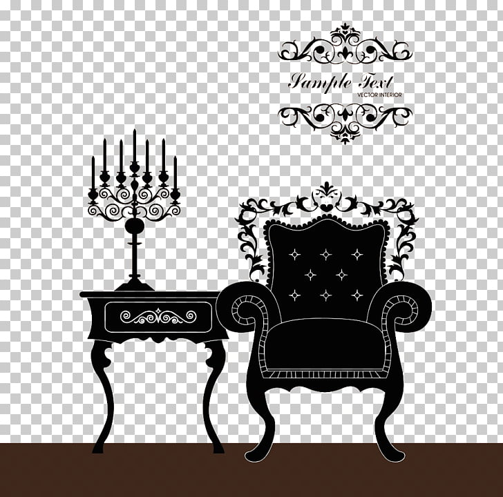 Table Furniture Poster, European luxury sofa decoration PNG.