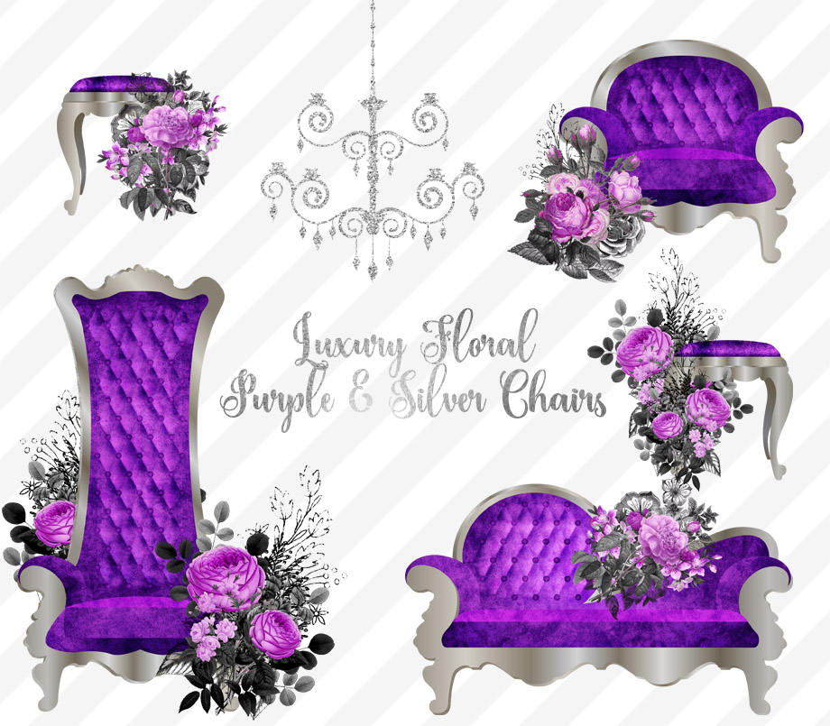 Luxury Purple and Silver Chair Clipart.