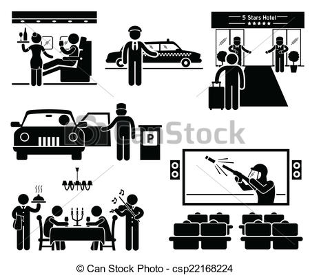 Vector Illustration of Luxury Services Cliparts.