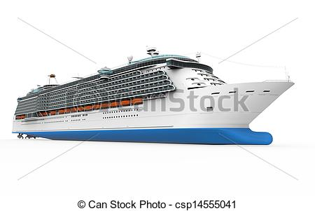 Drawing of Luxury Cruise Ship isolated on white background. 3D.