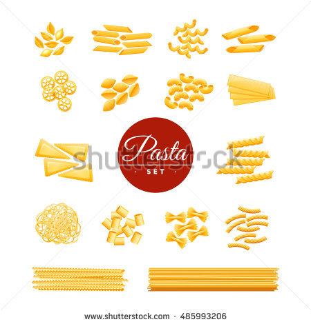 Italian Traditional Cuisine Dry Pasta Varieties Stock Vector.