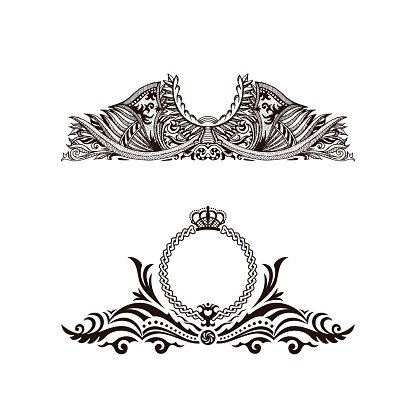 Calligraphic Luxury logo. Emblem elegant decor elements.