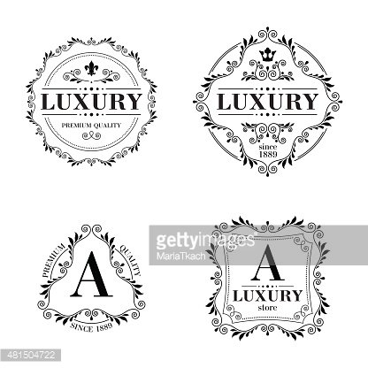 Luxury logo template ornament labels set Clipart Image.