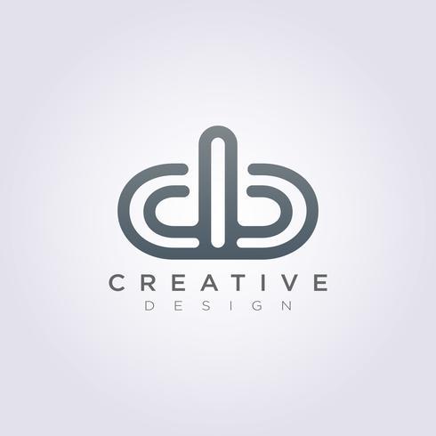 Letter d b Luxury Vector Illustration Design Clipart Symbol.