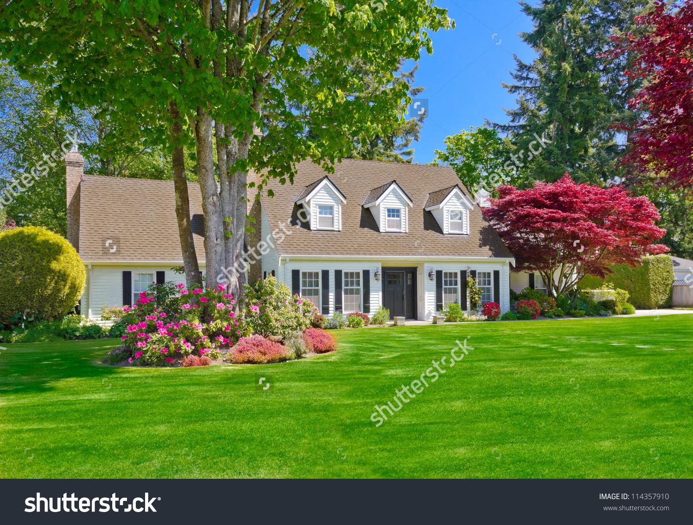 Custom Built Luxury House Nicely Trimmed Stock Photo 114357910.