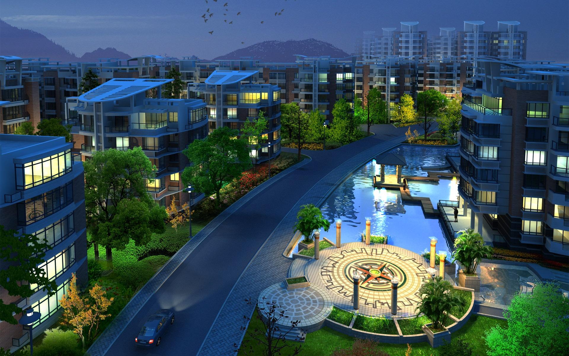 Luxury Neighborhood Buildings.