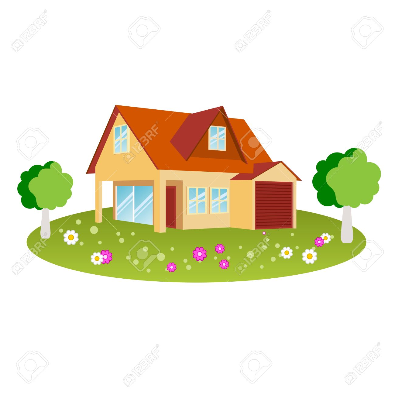 House Design With Flowers And Trees Royalty Free Cliparts, Vectors.