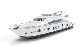 Medium Size White Luxury Yacht Isolated Stock Photos.