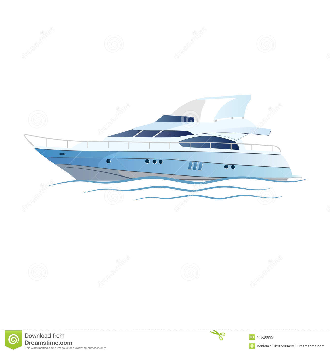 Vector Speed Luxury Yacht Stock Vector.