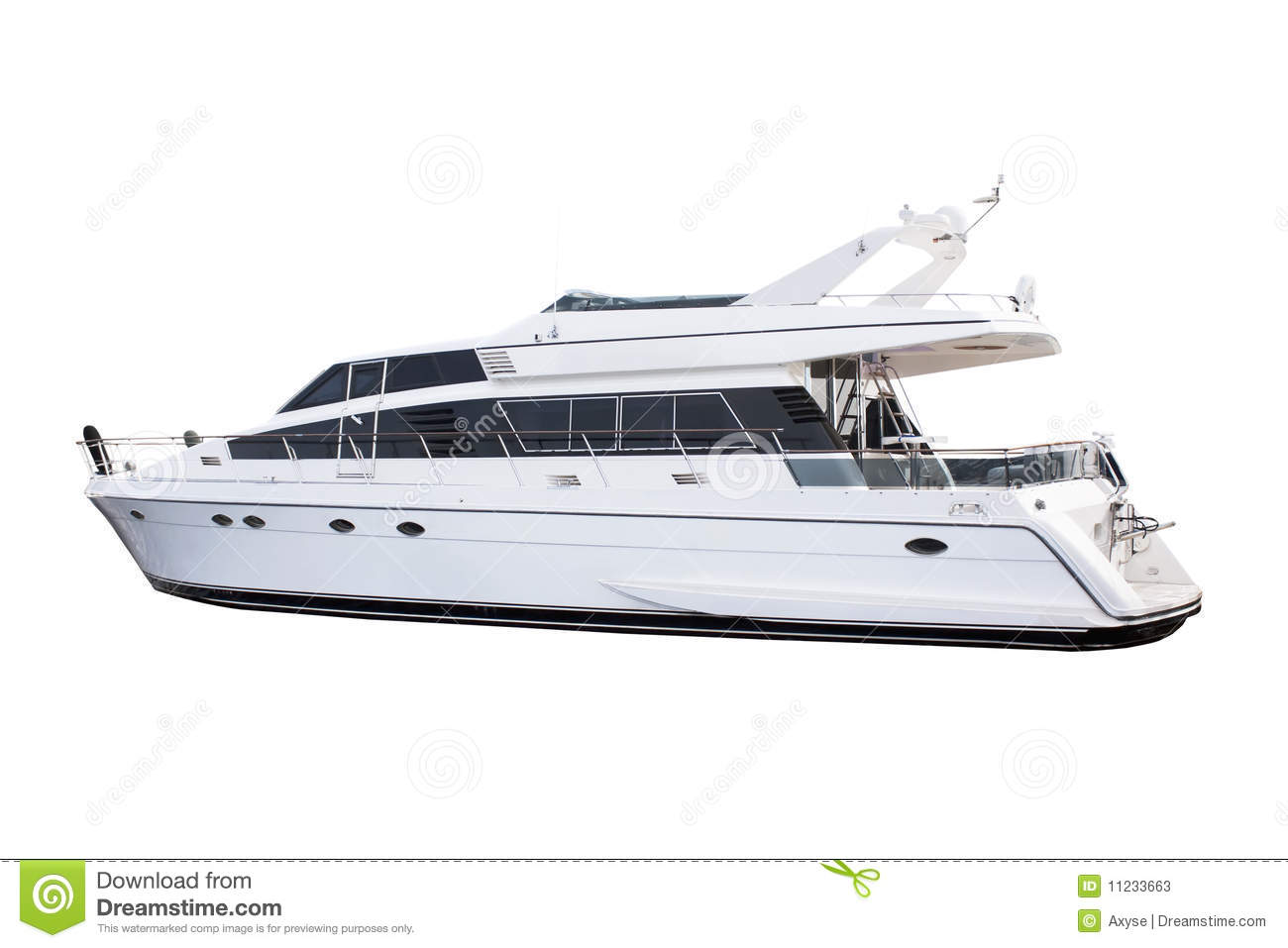 Medium Size White Luxury Yacht Isolated Stock Photos.