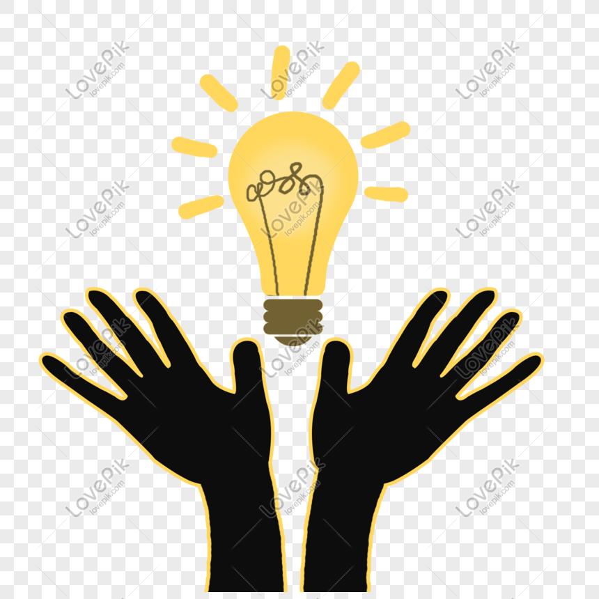 bombilla de luz amarilla personaje de manos Imagen.