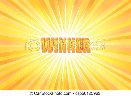 Vector, texto, ganador, luz amarilla. Dorado, luz, ganador.