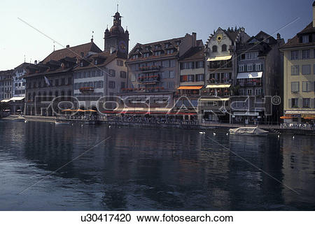Stock Photography of Switzerland, Luzern, Lucerne, Europe, Scenic.