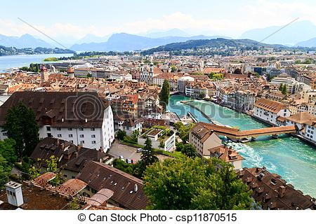 Stock Photography of Luzern City View from city walls with river.