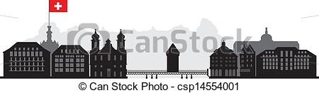 Vector Clipart of luzern skyline with bridge houses and other.