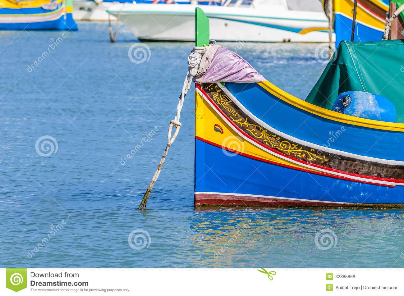Traditional Luzzu Boat At Marsaxlokk Harbor In Malta. Royalty Free.