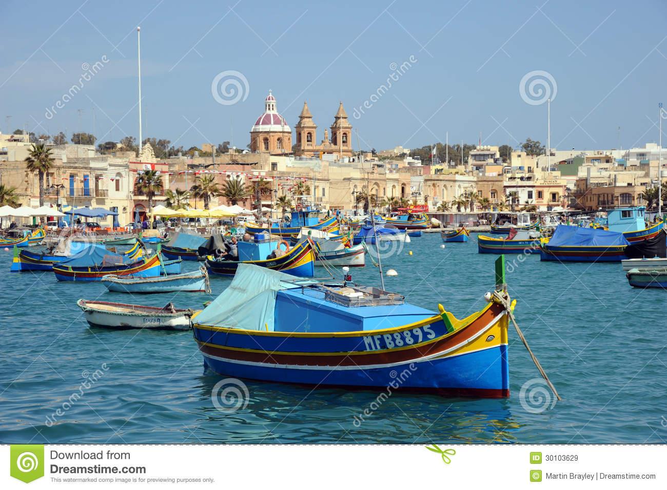 Maltese Luzzu Fishing Boats Malta Editorial Stock Image.