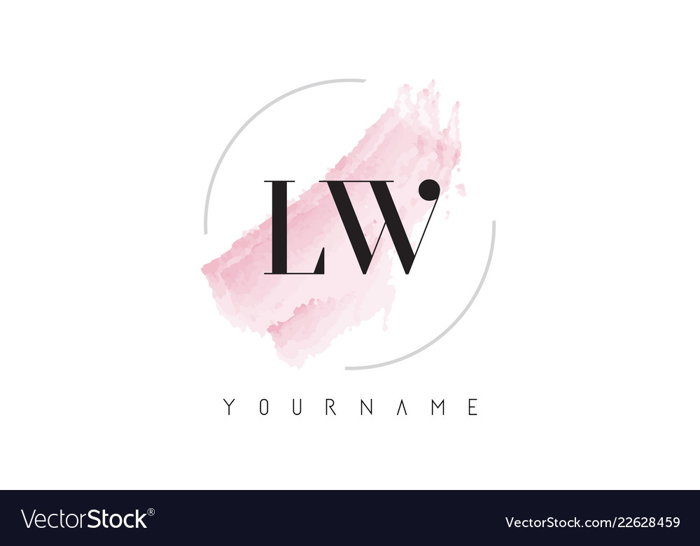 Lw l w watercolor letter logo design with.
