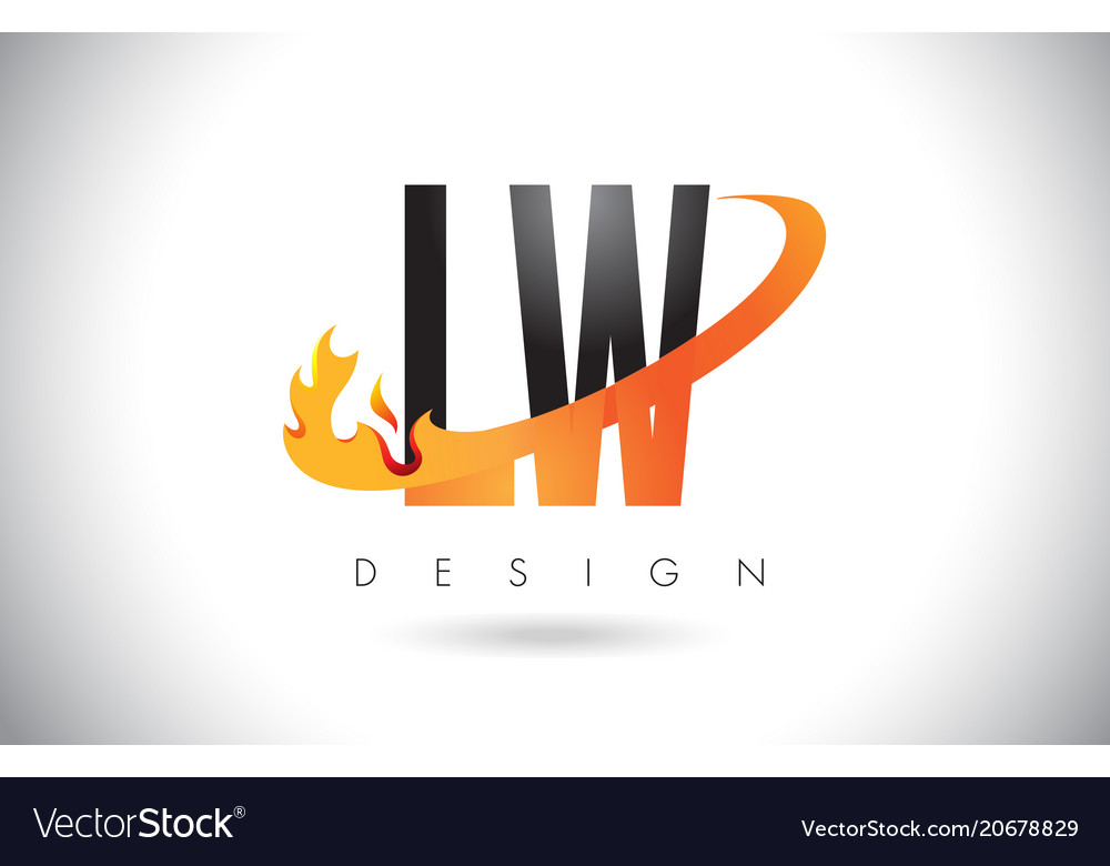 Lw l w letter logo with fire flames design and.