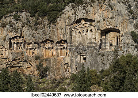 "Picture of ""Lycian Kings Rock Tombs, Dalyan, Turkey, Asia."