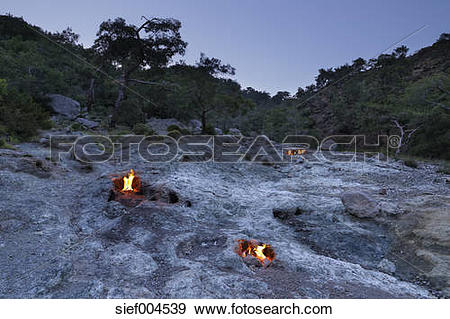 Stock Photograph of Turkey, Lycia, Eternal flames at Mount.