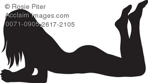 Clip Art Silhouette of a Sexy Woman Lying Down on Her Stomach with.