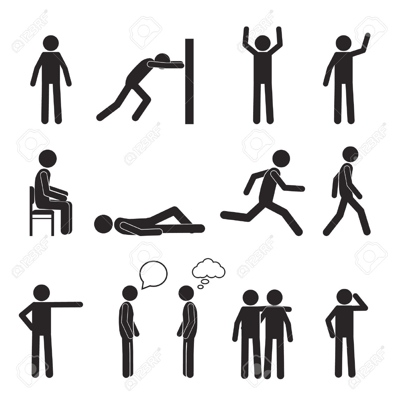 Man Posture Pictogram And Icons Set. People Sitting, Standing.