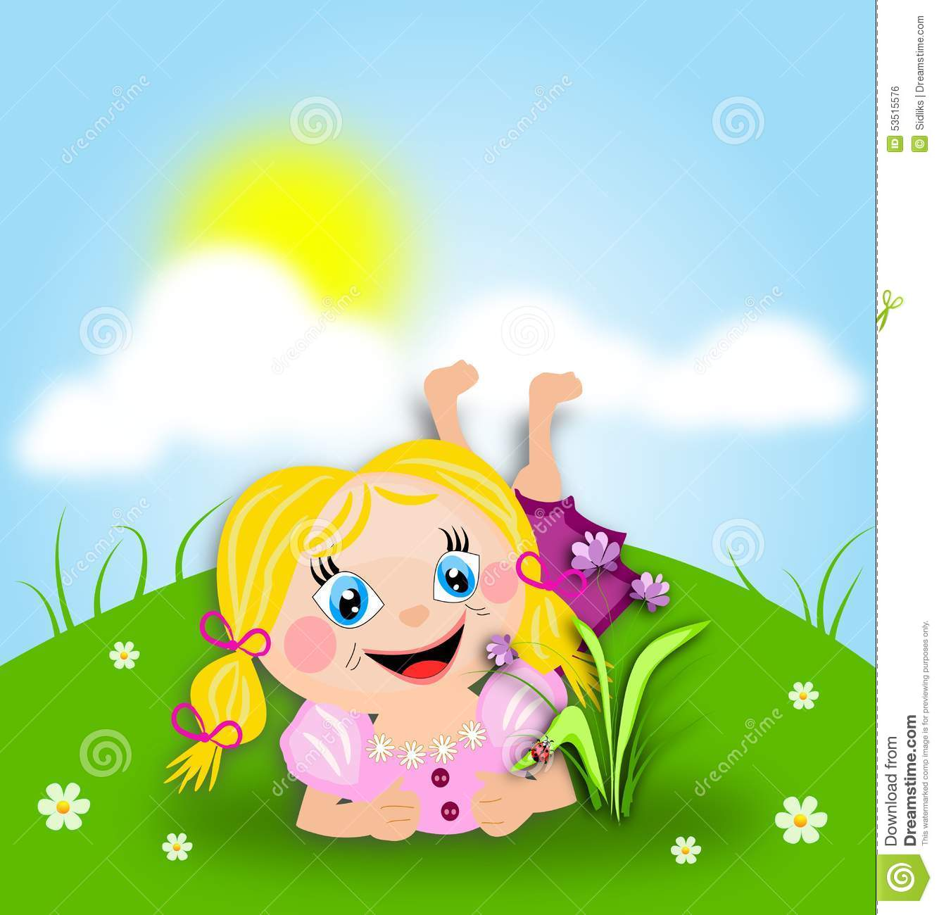 Lying Down On Grass Clipart.