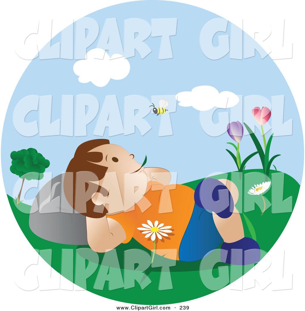 Clip Art of a Happy Little Caucasian Boy Lying in Flowers in the.