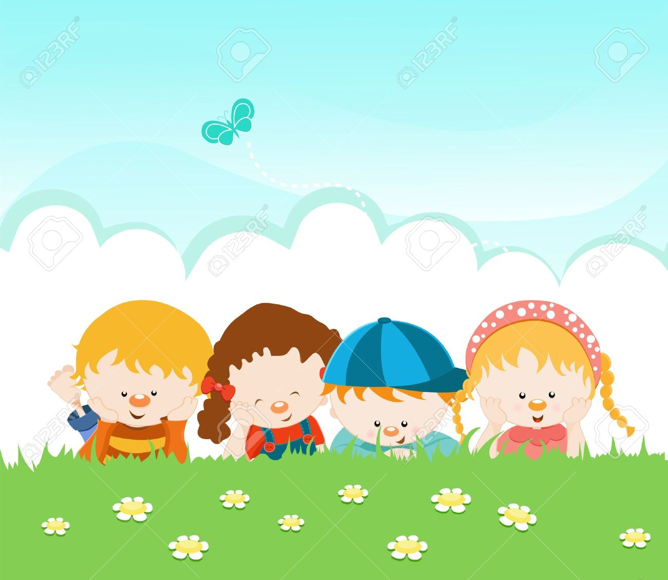 Kids Lying On The Grass Royalty Free Cliparts, Vectors, And Stock.