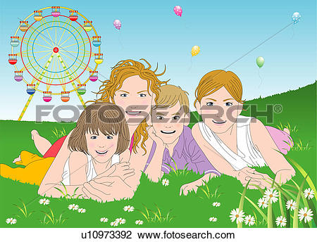 Clip Art of Mother and children lying on grass. u10973392.